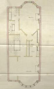 Second floor plan of 469 Beacon, bound with the final building inspection report, 29Oct1889 (v. 31, p. 142); Boston City Archives