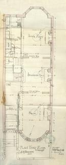 First floor plan of 471 Beacon, bound with the final building inspection report, 29Oct1889 (v. 31, p. 143); courtesy of the Boston Public Library Arts Department