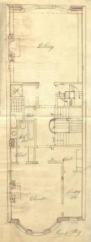 Second floor plan of 472 Beacon, bound with the final building inspection report, 23Dec1892 (v. 49, p. 132); courtesy of the Boston Public Library Arts Department