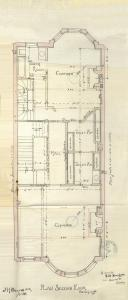 Second floor plan of 473 Beacon, bound with the final building inspection report, 29Oct1889 (v. 31, p. 144); courtesy of the Boston Public Library Arts Department