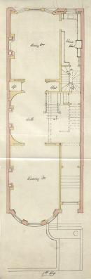 First floor plan of 474 Beacon, bound with the final building inspection report, 3Dec1892 (v. 49, p. 7); courtesy of the Boston Public Library Arts Department