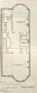 Second floor plan of 475 Beacon, bound with the final building inspection report, 29Oct1889 (v. 31, p. 145); courtesy of the Boston Public Library Arts Department