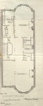 Second floor plan of 475 Beacon, bound with the final building inspection report, 29Oct1889 (v. 31, p. 145); Boston City Archives