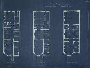 Basement, first, and second floor plans of 476 Beacon, bound with the final building inspection report , 3Dec1892 (v. 49, p. 8); Boston City Archives