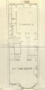 Second floor plan of 477 Beacon, bound with the final building inspection report, 4Jun1890 (v. 35, p. 28); courtesy of the Boston Public Library Arts Department