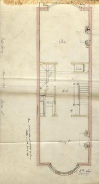 Second floor plan of 480 Beacon, bound with the final building inspection report, 21Aug1893 (v. 51, p. 94); courtesy of the Boston Public Library Arts Department