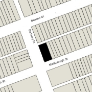 Irregular lot: 49.67' on Marlborough, 49.94' on Alley 421, 112' East-West (5,580 sf)