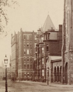 234-236 Clarendon, with 220 Clarendon beyond (ca. 1890), detail from photograph of First Baptist Church by J. W. Taylor; Ryerson and Burnham Archives, The Art Institute of Chicago (Digital file #43924)
