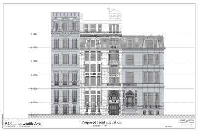 Proposed front façade of 9 Commonwealth, showing abutting buildings, May2014; courtesy of Meyer and Meyer, Inc.