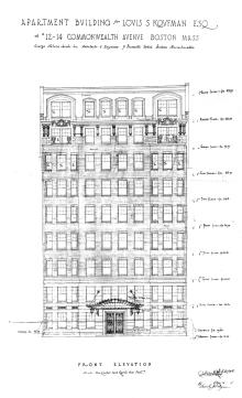 Architectural rendering of front elevation of 12 Commonwealth (1927) by George Jacob Nelson, architect; courtesy of the Boston Public Library