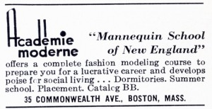Advertisement for the Academie Moderne; Boston's Back Bay, published by the Back Bay Association, 1941