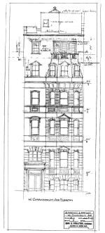 Front elevation for 1937 remodeling of 46 Commonwealth by Edward B. Stratton, architect, showing proposed additional story ultimately not built; courtesy of the Boston Public Library Arts Department