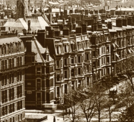 261 Clarendon and 49-65 Commonwealth (ca. 1890); detail from photograph of the north side of Commonwealth looking east; courtesy of Barry and Judith Solar