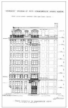 Architectural rendering of Commonwealth Avenue elevation of 50 Commonwealth (1925) by George Jacob Nelson, architect; courtesy of the Boston Public Library