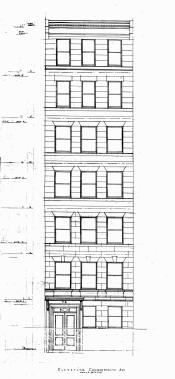 Architectural rendering of front elevation of 78 Commonwealth (1922), by architect John Craig; courtesy of the Boston Public Library Fine Arts Department, City of Boston Blueprints Collection