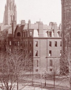 90 Commonwealth in 1883; detail from photograph of First Baptist Church taken from 129 Commonwealth; Manning family album, courtesy of Historic New England