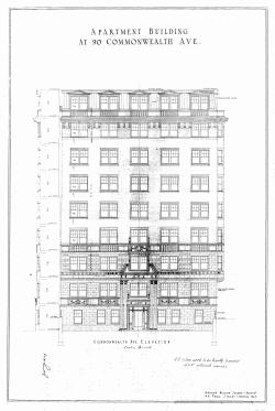Architectural rendering of front elevation of 90 Commonwealth (1925) by George Jacob Nelson, architect; courtesy of the Boston Public Library Arts Deparfment