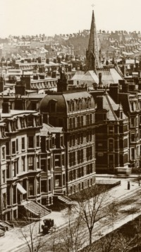 260 Clarendon and 107-109 Commonwealth; detail from photograph of the north side of Commonwealth looking east (ca. 1890); courtesy of Barry and Judith Solar
