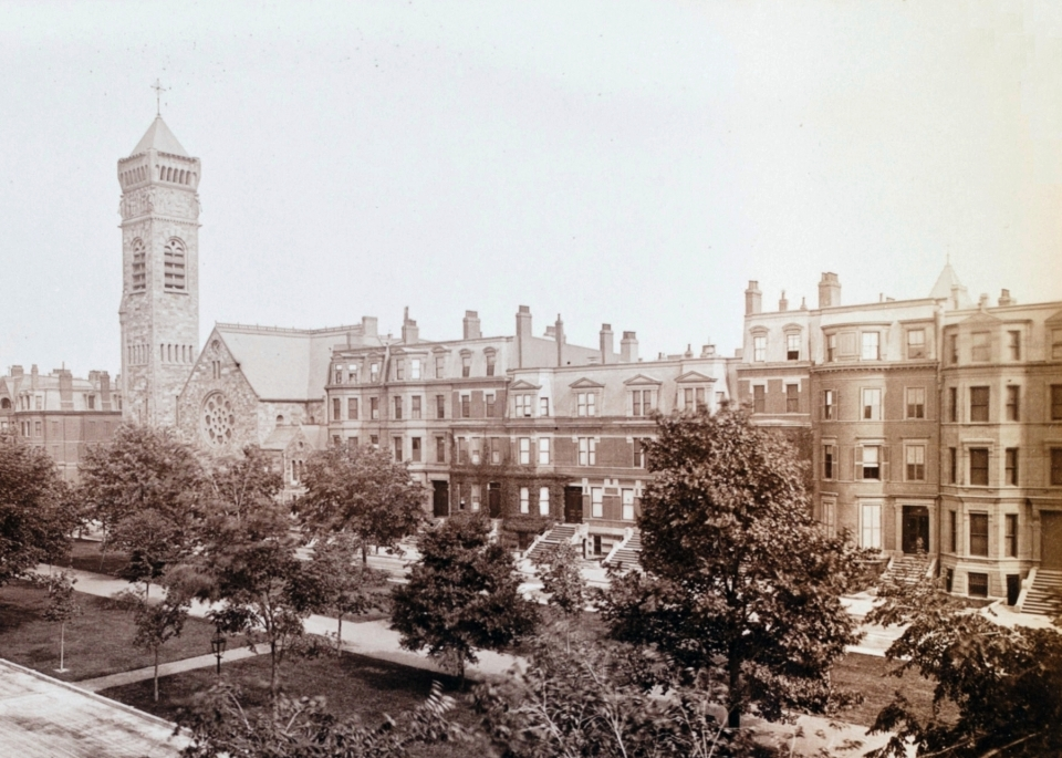 Commonwealth Avenue looking southeast toward Clarendon, photograph taken in June 1884 from 129 Commonwealth; Manning family album, courtesy of Historic New England