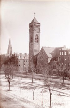 First Baptist Church, photograph taken in 1883 from 129 Commonwealth; Manning family album, courtesy of Historic New England