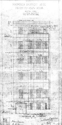 Remodeled front elevation of 113 Commonwealth by architect Herman L. Feer, Nov1916; courtesy of the Boston Public Library Fine Arts Department, Blueprint Collection