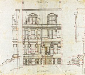Front elevation of 120 Commonwealth drawn ca. 1873 by Emerson and Fehmer for James B. Case; courtesy of Historic New England