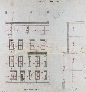 Rear elevation of 120 Commonwealth drawn ca. 1873 by Emerson and Fehmer for James B. Case; courtesy of Historic New England
