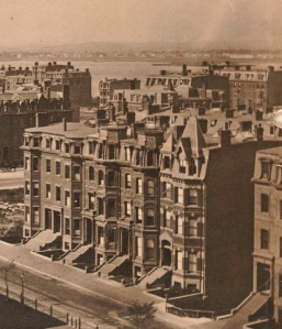121-129 Commonwealth (ca. 1875), detail from photograph taken from the Brattle Street (First Baptist) Church tower; courtesy of the Print Department, Boston Public Library