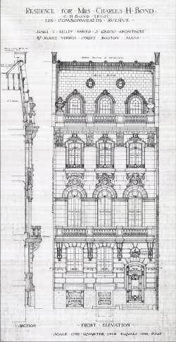 Architectural rendering of remodeled front façade of 128 Commonwealth (1909) by James T. Kelley and Harold S. Graves, architects; courtesy of the Boston Public Library Fine Arts Department