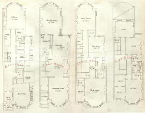 Basement and first through third floor plans of 131 Commonwealth, bound with the final building inspection report , 30Dec1880 (v. 1, p. 118); courtesy of the Boston Public Library Arts Department