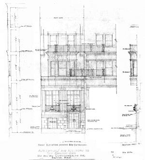 Architectural rendering by Bigelow and Wadsworth of lowered front entrance of 150 Commonwealth and associated remodeling to combine it with 152 Commonwealth, September 1926; Boston City Archives, City of Boston Blueprints Collection.