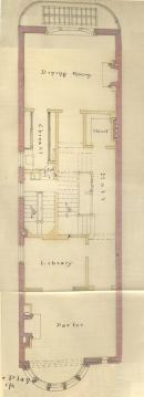 Second floor plan of 172 Commonwealth, bound with the final building inspection report, 16Jul1886 (v. 15, p. 70); courtesy of the Boston Public Library Arts Department