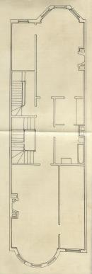 Floor plan of 174 Commonwealth, probably the second floor, bound with the final building inspection report, 23Mar1894 (v. 55, p. 138); courtesy of the Boston Public Library Arts Department