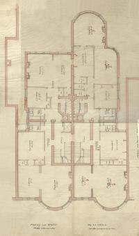 Floor plan of 186-188 Commonwealth (probably second floor), bound with the final building inspection report , 23Oct1891 (v. 42, p. 41); courtesy of the Boston Public Library Arts Department