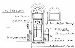 Proposed lowered front entrance at 197 Commonwealth (1947), Clark F. Merrick, architect; courtesy of the Boston Public Library Arts Department