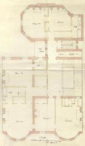 Second floor plan of 199 Commonwealth, bound with the final building inspection report, 28Dec1891 (v. 43, p. 69); courtesy of the Boston Public Library Arts Department