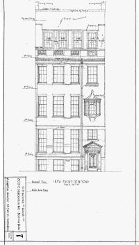 Architectural rendering of proposed front elevation of 203 Commonwealth (1929), by architect William H. Cox; courtesy of the Boston Public Library Arts Department, City of Boston Blueprints Collection
