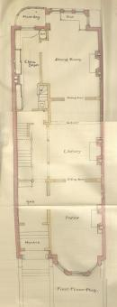 First floor plan of 206 Commonwealth, bound with the final building inspection report, 15Jul1886 (v. 15, p. 60); courtesy of the Boston Public Library Arts Department