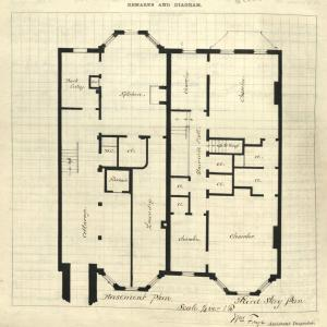 Sketch of basement floor plan for 216 Commonwealth and third floor plan for 218 Commonwealth, drawn on the final building inspection report, 5Oct1880 (v. 1, p. 61); Boston City Archives