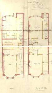 Basement and first floor plans of 231 Commonwealth, bound with the final building inspection report , 1Dec1886 (v. 16, p. 104); courtesy of the Boston Public Library Arts Department