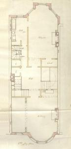 Second floor plan of 234 Commonwealth, bound with the final building inspection report, 4Jun1890 (v. 35, p. 29); Boston City Archives