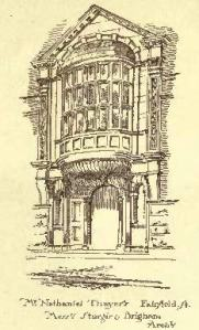 "239 Commonwealth, sketch of entrance; ""The American Architect and Building News,"" 11Jul1885"