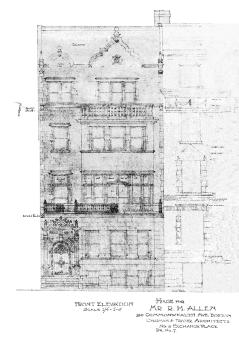 Architectural rendering of front elevation of 240 Commonwealth (1903), by architectd Chapman and Frazer; courtesy of the Boston Public Library Arts Department, City of Boston Blueprints Collection