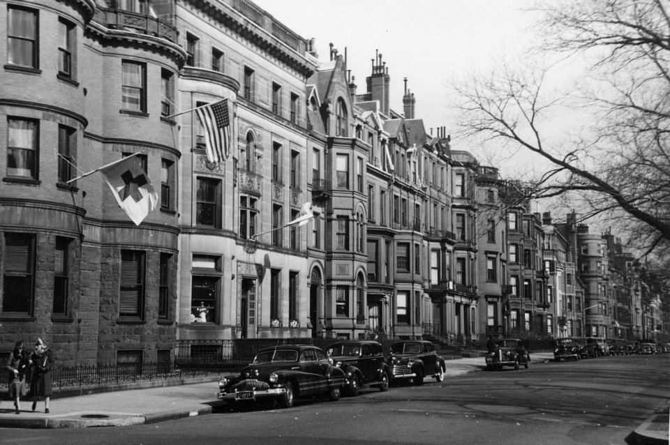 Looking east on Commonwealth with 273 Commonwealth in the foreground (ca. 1942), photograph by Bainbridge Bunting, courtesy of The Gleason Partnership