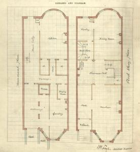 Drawing of basement and first floor plans for 252 Commonwealth, drawn on the final building inspection report, 5Oct1880 (v. 1, p. 58); courtesy of the Boston Public Library Arts Department