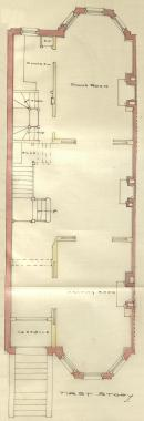 First floor plan of 276 Commonwealth, bound with the final building inspection report, 15Dec1886 (v. 17, p. 67); courtesy of the Boston Public Library Arts Department
