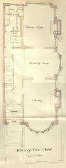First floor plan of 282 Commonwealth, bound with the final building inspection report, 15Dec1886 (v. 17, p. 37); courtesy of the Boston Public Library Arts Department