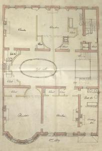 Second floor plan of 287 Commonwealth, bound with the final building inspection report, 13Nov1893 (v. 54, p.. 35); courtesy of the Boston Public Library Arts Department