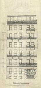 Front elevation of 290 Commonwealth, bound with the final building inspection report, 24Oct1891 (v. 41, p. 70); courtesy of the Boston Public Library Arts Department