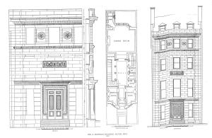 Architectural drawings of the front elevation, first floor plan, and architectural details of 303 Commonwealth, ca. 1897); from A Monograph of the Works of McKim, Mead & White: 1879-1915 (The Architectural Book Publishing Company, New York); Plate 97